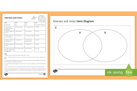 Intersect and Union Venn Diagram Game - Venn Diagrams, Sets