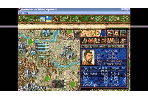 Romance of the Three Kingdoms 4 PC 1995 Gameplay - YouTube