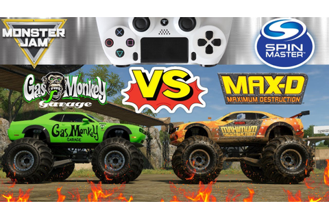 MONSTER JAM MONSTER TRUCKS VIDEO GAME MAX D vs GAS MONKEY ...