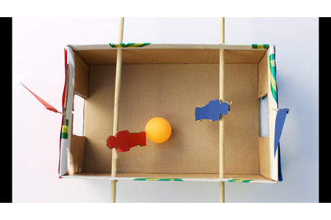 Easy craft: How to make a shoebox foosball game - YouTube