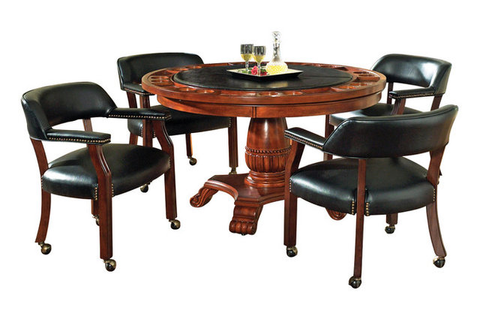 Steve Silver Tournament 5-Piece Game Table Set in Brown ...