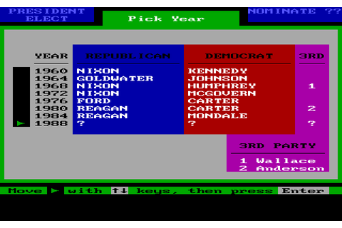 President Elect: 1988 Edition - Play Online Classic Games