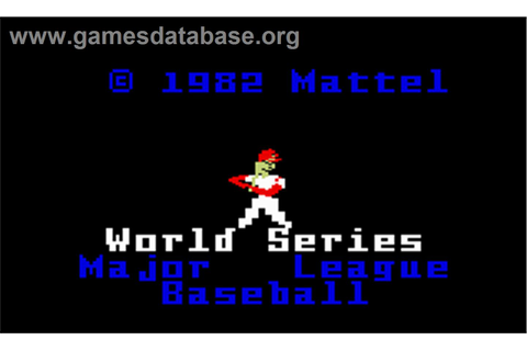Intellivision World Series Major League Baseball - Mattel ...