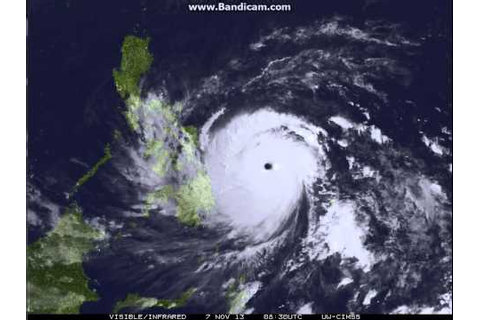 Eye of Super Typhoon Yolanda - Philippines - YouTube