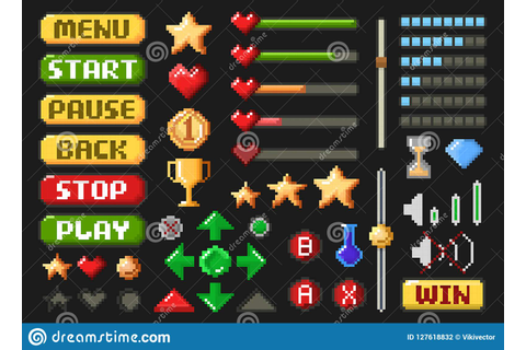 Pixel Game Screen Element Set On Black Stock Vector ...