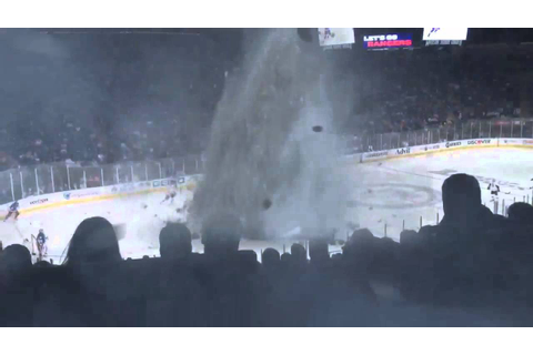 Tornado at hockey game - YouTube
