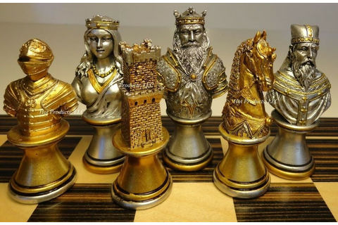 MEDIEVAL TIMES CRUSADE BUSTS chess men set Gold Silver ...