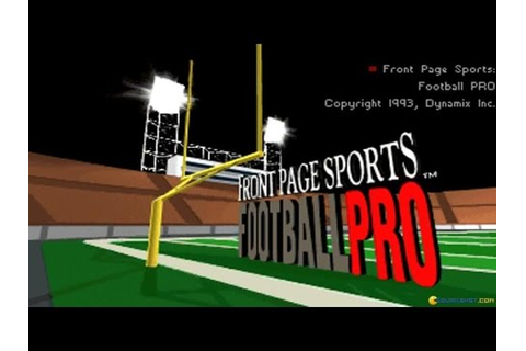 Front Page Sports: Football Pro gameplay (PC Game, 1993 ...