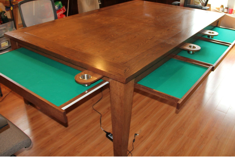 Hand Crafted Game Table W Removable Top / Cup Holders ...