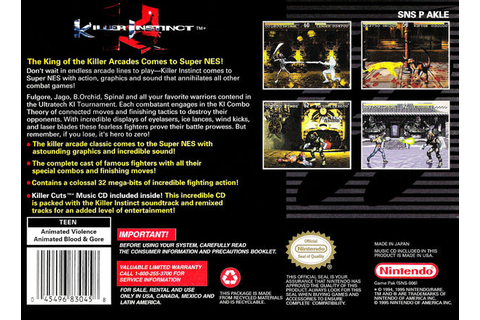Killer Instinct (Nintendo SNES, 1995) – Red Ant Retro