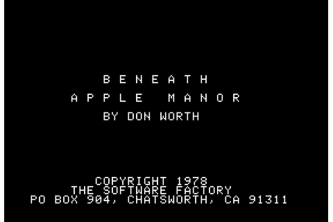 Beneath Apple Manor (1978) by Quality Software Apple II E game