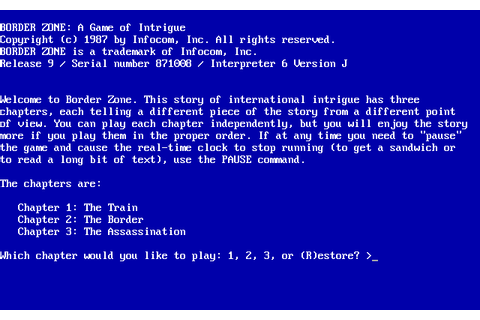 Border Zone (1987) by Infocom MS-DOS game