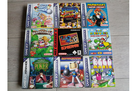 9 Gameboy Advance games boxed like Mario Kart , Wario land ...