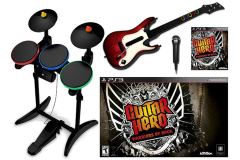 PS3 Guitar Hero WARRIORS OF ROCK Super Bundle Set Game kit ...