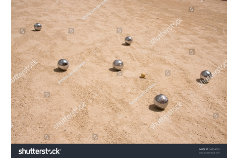 Game Of Jeu De Boule, Silver Metal Balls In Sand. A French ...