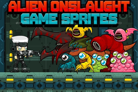 Alien Onslaught - Game Sprites by pzUH | GraphicRiver