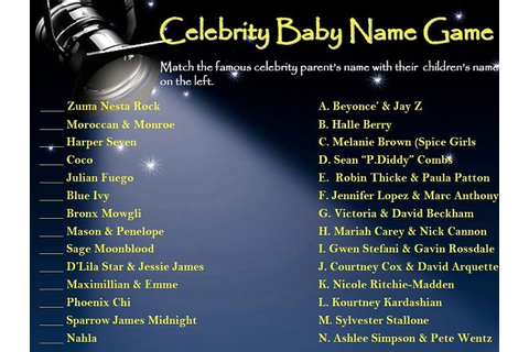 Cool baby shower game! Celebrity Baby Name Game PRINTABLE ...