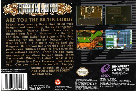 Brain Lord - Game: Back Cover