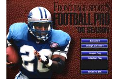 Front Page Sports Football Pro '96 Season Download (1995 ...