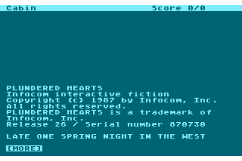 Plundered Hearts (1987) by Infocom Atari 400/800 game
