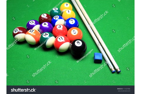 Pool Game On Green Table Stock Photo 111427958 - Shutterstock