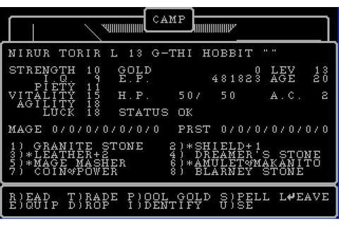 Wizardry II: The Knight of Diamonds Download (1982 Role ...