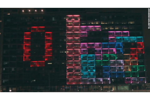 Tel Aviv turns City Hall into a giant Tetris game