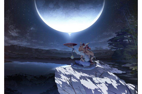 Touhou, Anime Girls, Video Games, Moon, Ibuki Suika ...