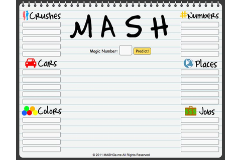 Play the MASH Game online! :D I love this game, but I didn ...