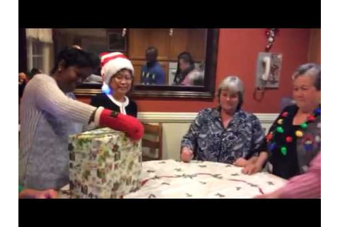 Unwrap the gift game 😀our fun Christmas party - YouTube