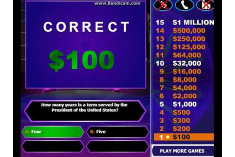 Who Wants To Be A Millionaire - Online Game - YouTube