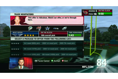 NFL Head Coach 09 Xbox 360 Gameplay - Draft Day 1 - YouTube