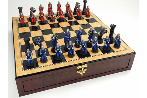 MEDIEVAL TIMES CRUSADE WARRIOR Red & Blue CHESS SET Walnut ...