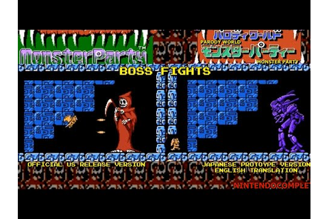 Monster Party (NES), Boss Battles: US release/Japanese ...