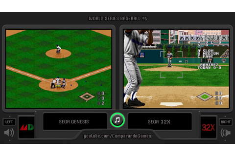World Series Baseball '95 (Sega Genesis vs Sega 32X) Side ...
