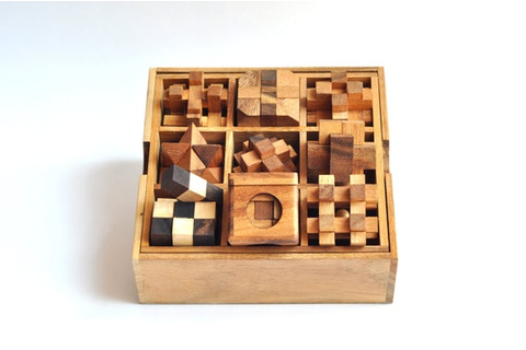 Wooden game Puzzle box 9 Puzzle Box Games Set by ...