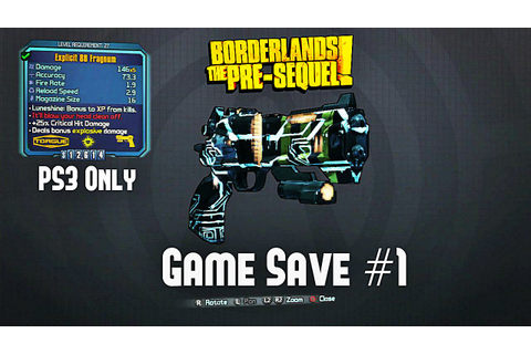 Borderlands The Pre Sequel - Legendary Game Save 1 ps3 ...