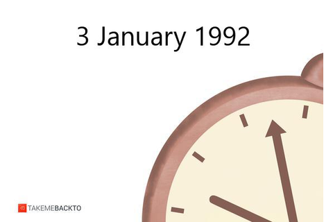 3 January 1992, Friday, What happened on | TakeMeBack.to