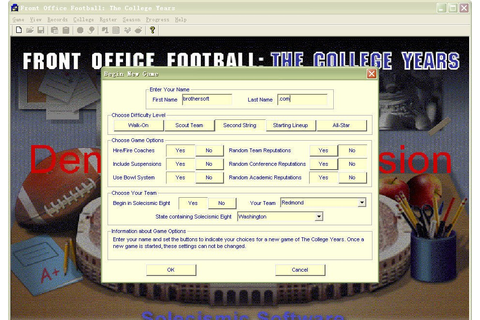 Front Office Football: The College Years Games College Years