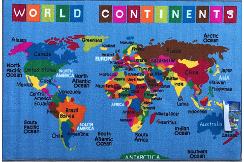 Kids Area Rug Reversible World Continent Map Learning ...