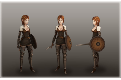 Medieval girl warrior free VR / AR / low-poly 3D Model ...