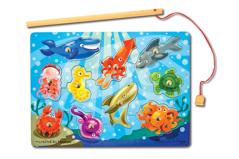 Melissa & Doug Magnetic Wooden Fishing Game with Magnetic ...