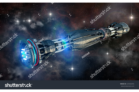 Spaceship In Interstellar Travel, On A Galactic Star Field ...