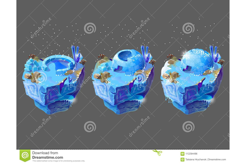 Vector Cartoon Blue Ice House For Game Design Stock Vector ...