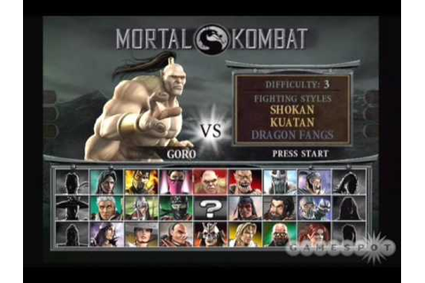 Mortal Kombat - All soundtrack of Select Character - YouTube