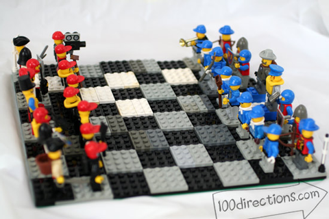 DIY LEGO chess game board and pieces - 100 Directions