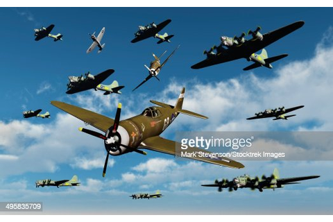 P47 Thunderbolts Escorting B17 Flying Fortress Bombers On ...