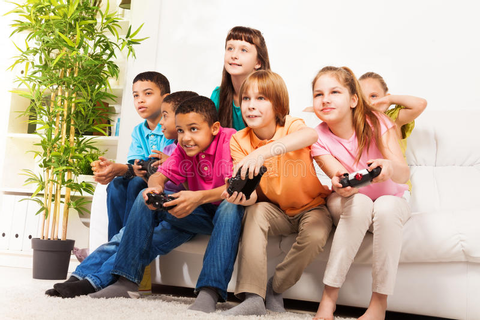 Intense Video Game With Friends Stock Image - Image of ...